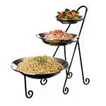 American Metalcraft IS15 Bowl Stand, Large, 3 Tier, Black Wrought Iron