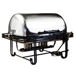 American Metalcraft MESA27 Full Size Roll Top Chafer, Stainless w/ Wrought Iron Accents