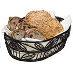 American Metalcraft OLB9 Bread Basket, 6 in x 9 in, Oval, Black Leaf Design, Wrought Iron