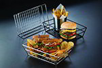 American Metalcraft RMB95B Basket, 9 in L x 6 in W x 2-1/2 in H, Rectangle, Grid Bottom, Black