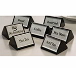 American Metalcraft SIGND4 Decaf Sign, Triangular Wood, Black w/ Silver Label, 3 in W x 1-3/4 in H
