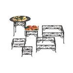 American Metalcraft SLRS7 Ironworks Display Riser, Set, Square, Leaf Design, Black Wrought Iron