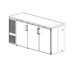 Perlick NS72 Backbar Storage Cabinet w/ Narrow Doors, 3-Section, Lock, Stainless