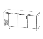 Perlick PS84 Refrigerated Backbar Storage Cabinet w/ Lock, 3-Section, Pass Thru
