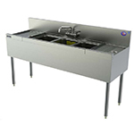 Perlick TSD53C 72-in Underbar 3-Compartment Sink Unit w/ (2) 12-in Drainboard