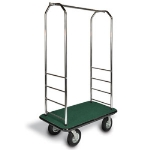 CSL Foodservice & Hospitality 2000BK-050 GRN Bellman Cart w/ Green Carpet, 8-in Gray Poly Casters & Black Bumper, Chrome