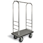 CSL Foodservice & Hospitality 2000GY-050 GRY Bellman Cart w/ Gray Carpet, 8-in Gray Poly Casters & Bumper, Chrome