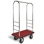 CSL Foodservice & Hospitality 2000BK-020 RED Bellman Cart w/ Red Carpet, 8-in Gray Casters & Black Bumper, Chrome