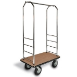 CSL Foodservice & Hospitality 2000GY-040 TAN Bellman Cart w/ Tan Carpet, 5-in Gray Casters & Bumper, Chrome