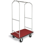 CSL Foodservice & Hospitality 2005BK-060-RED Economy Bellman Cart w/ Red Carpet, Black Casters & Bumper, Silver Metallic