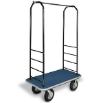 CSL Foodservice & Hospitality 2011GY-040 BLU Bellman Cart w/ Blue Carpet, 5-in Gray Poly Casters & Bumper, Black