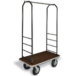 CSL Foodservice & Hospitality 2011BK-020 BRN Bellman Cart w/ Brown Carpet, 8-in Gray Casters & Black Bumper, Black