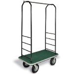 CSL Foodservice & Hospitality 2011BK-020 GRN Bellman Cart w/ Green Carpet, 8-in Gray Casters & Black Bumper, Black