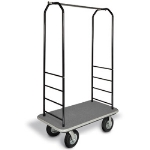 CSL Foodservice & Hospitality 2011GY-040 GRY Bellman Cart w/ Gray Carpet, 5-in Gray Poly Casters & Bumper, Black