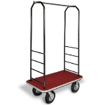 CSL Foodservice & Hospitality 2011GY-040 RED Bellman Cart w/ Red Carpet, 5-in Gray Poly Casters & Bumper, Black