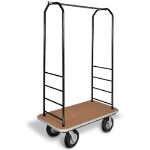 CSL Foodservice & Hospitality 2011BK-010 TAN Bellman Cart w/ Tan Carpet, 8-in Black Casters & Bumper, Black