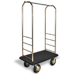 CSL Foodservice & Hospitality 2033GY-020 BLK Bellman Cart w/ Black Carpet, 8-in Gray Casters & Bumper, Brasstone