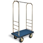 CSL Foodservice & Hospitality 2033BK-010 BLU Bellman Cart w/ Blue Carpet, 8-in Black Casters & Bumper, Brasstone