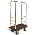 CSL Foodservice & Hospitality 2033GY-010 BRN Bellman Cart w/ Brown Carpet, 8-in Black Casters & Gray Bumper, Brasstone
