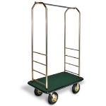 CSL Foodservice & Hospitality 2033BK-030 GRN Bellman Cart w/ Green Carpet, 8-in Brass Casters & Black Bumper, Brasstone