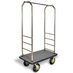 CSL Foodservice & Hospitality 2033BK-040 GRY Bellman Cart w/ Gray Carpet, 5-in Gray Poly Casters & Black Bumper, Brasstone