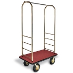 CSL Foodservice & Hospitality 2033GY-030 RED Bellman Cart w/ Red Carpet, 8-in Brass Casters & Gray Bumper, Brasstone