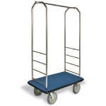 CSL Foodservice & Hospitality 2099GY-020 BLU Bellman Cart w/ Blue Carpet, 8-in Gray Casters & Bumper, Stainless
