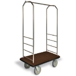 CSL Foodservice & Hospitality 2099BK-020 BRN Bellman Cart w/ Brown Carpet, 8-in Gray Casters & Black Bumper, Stainless