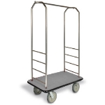 CSL Foodservice & Hospitality 2099BK-010 GRY Bellman Cart w/ Gray Carpet, 8-in Black Casters & Bumper, Stainless