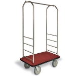 CSL Foodservice & Hospitality 2099GY-050 RED Bellman Cart w/ Red Carpet, 8-in Gray Poly Casters & Bumper, Stainless