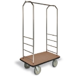 CSL Foodservice & Hospitality 2099GY-020 TAN Bellman Cart w/ Tan Carpet, 8-in Gray Casters & Bumper, Stainless
