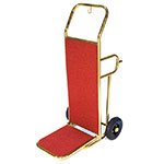 CSL Foodservice & Hospitality 2211GD-RED Deluxe Bellman Hand Truck w/ Red Carpet, Gold Titanium