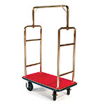 CSL Foodservice & Hospitality 2533BK-030-RED Upright Bellman Cart w/ Red Carpet, Squared Top, Gold Titanium
