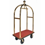 CSL Foodservice & Hospitality 3333-BK-030-RED Sphere Style Deluxe Bellman Cart w/ Red Carpet, Titanium Gold