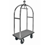 CSL Foodservice & Hospitality 3399-BK-010-GRY Sphere Style Deluxe Bellman Cart w/ Gray Carpet, Stainless