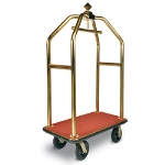CSL Foodservice & Hospitality 3433-BK-030-RED Diamond Style Deluxe Bellman Cart w/ Red Carpet, Titanium Gold