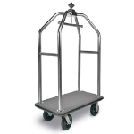 CSL Foodservice & Hospitality 3499-BK-010-GRY Diamond Style Deluxe Bellman Cart w/ Gray Carpet, Stainless