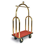 CSL Foodservice & Hospitality 3533-BK-030-RED Trident Style Deluxe Bellman Cart w/ Red Carpet, Titanium Gold