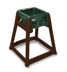 CSL Foodservice & Hospitality 866C-GRN High Chair Infant Seat w/ Green Seat, Casters, Dark Brown Frame