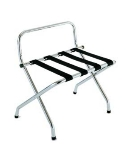 CSL Foodservice & Hospitality 1055C-BL-1 Luggage Rack w/ Black Straps & High Back Wall Guard, Chrome