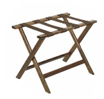 CSL Foodservice & Hospitality 177DK-1 Luggage Rack w/ Brown Straps, Deluxe Wooden, Walnut