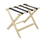 CSL Foodservice & Hospitality 177WW-1 Luggage Rack w/ Navy Blue Straps, Deluxe Wooden, White Wash