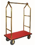 CSL Foodservice & Hospitality 2633BK-030-RED Upright Bellman Cart w/ Red Carpet, Angled Top, Gold Titanium
