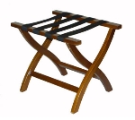 CSL Foodservice & Hospitality 77WAL-1 Premiere Luggage Rack w/ Black Straps, Wooden, Walnut
