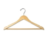 CSL Foodservice & Hospitality THA-11 M C Mens Contour Hanger w/ Mini Hook, Natural Finish
