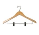 CSL Foodservice & Hospitality THA-11 NWC C Ladies Contour Hanger, Regular Hook w/ Skirt Clip, Natural Finish