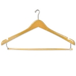 CSL Foodservice & Hospitality THA-66 NBT C Mens Executive Suit Hanger w/ Ball Top Hook, Natural Finish