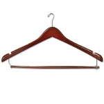 CSL Foodservice & Hospitality THA-66 NM W Mens Executive Suit Hanger w/ Mini Hook, Walnut Finish