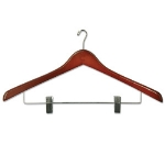 CSL Foodservice & Hospitality THA-66 NMWC W Ladies Executive Suit Hanger w/ Mini Hook, Walnut Finish