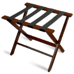 CSL Foodservice & Hospitality TLR-100CM-1 American Hardwood Luggage Rack w/ Black Straps, Cherry Mahogany